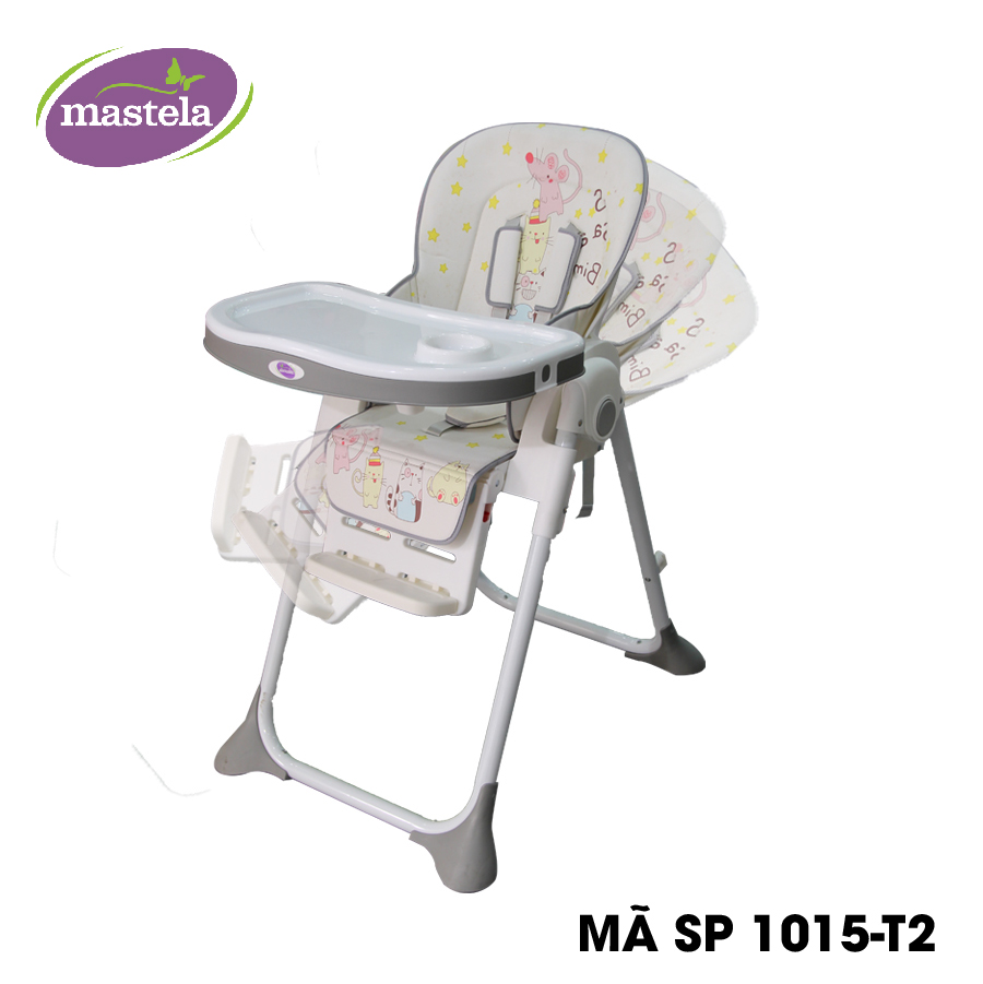 Ghế ngồi ăn cao Mastela MSTL-1015-PUPRIN-T2 màu xám hình mèo chuột